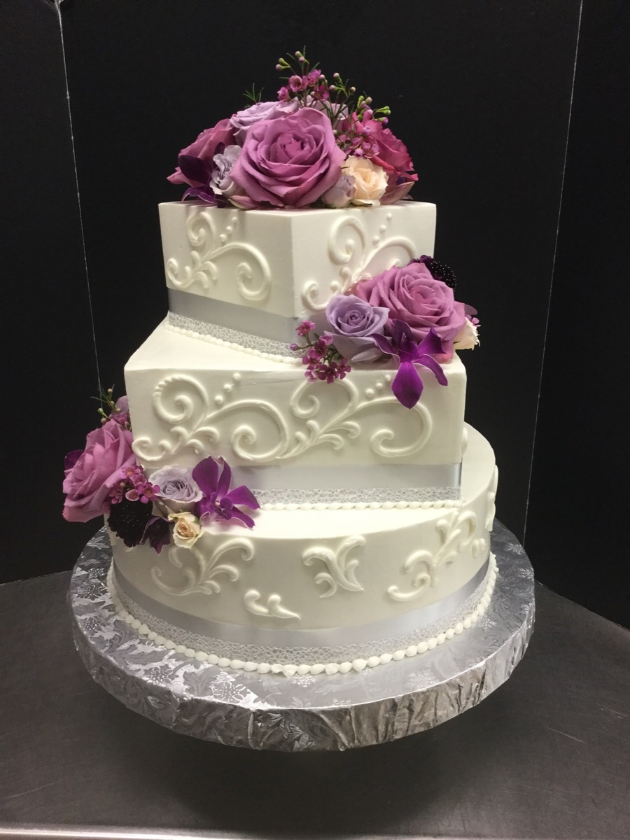Christine's Cakes & Pastries - 3 Tier-Buttercream hand piped scroll work (Fresh Flower Accent)-square _circle