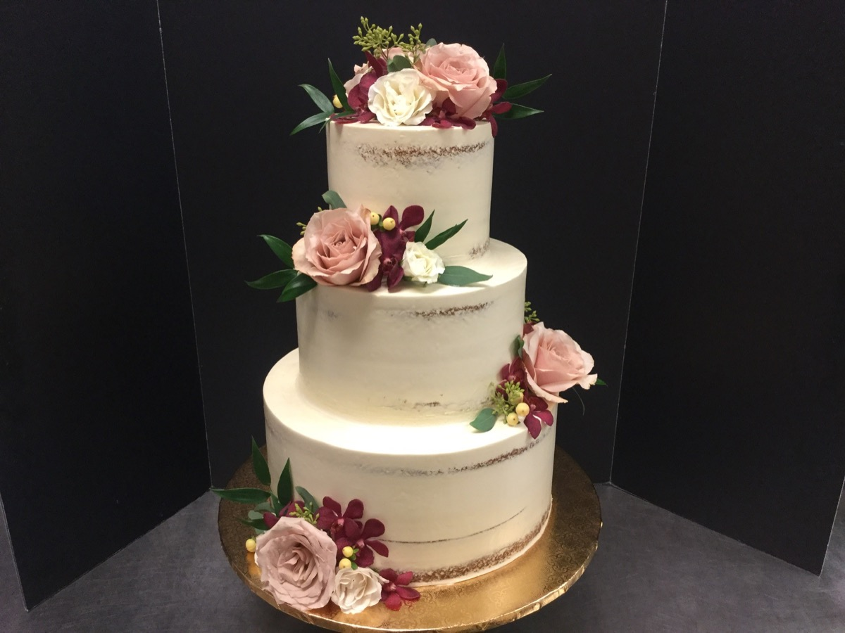 Christine's Cakes & Pastries - 3 Tier-Buttercream naked cake (Fresh Flower Accent)