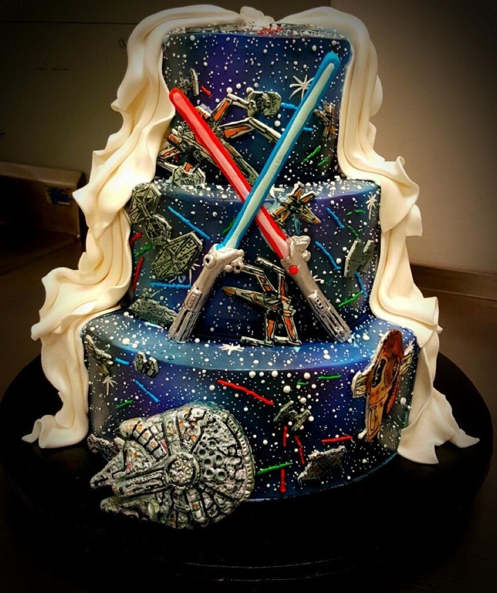 Christine's Cakes & Pastries - 3 Tier-Fondant Wedding Cake (StarWars Theme)