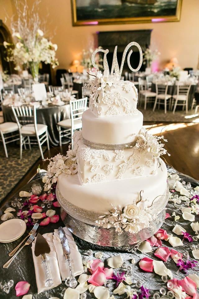 Christine's Cakes & Pastries - 4 Tier-Buttercream Wedding Cake with art deco design (Gum paste flower Accent)